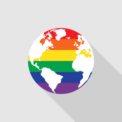 LGBT community symbol on world map flat design