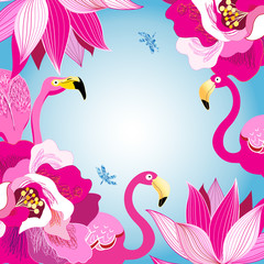 Floral colorful background with flamingos