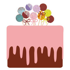 Birthday, valentine's day, wedding, engagement. Sweet cake, strawberry pink cream chocolate icing sprinkles, cake pops, pastel colors on white background. Vector