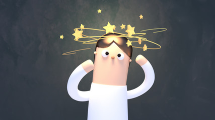 3d rendering picture of dizzy man with stars spinning over his head.
