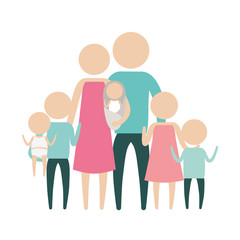 color silhouette pictogram big family group with several children vector illustration