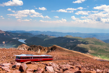 This is a view from the top of Pikes Peak in Colorado Springs, Colorado.