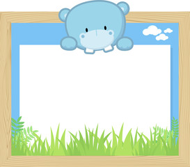 wood frame with cute baby hippo and blank board for copy space, design for children