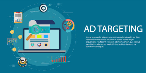 Targeting audience through advertising, branding, and digital media marketing flat vector concept with icons