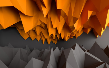 Abstract black and orange background. 3D rendering.