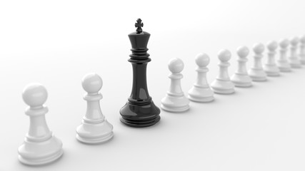 Leadership and success concept, black king of chess, standing out from the crowd of white pawns, on white background. 3D rendering.