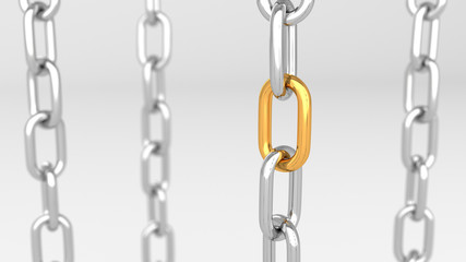Leadership concept, gold and silver chains, on white background. 3D Rendering.