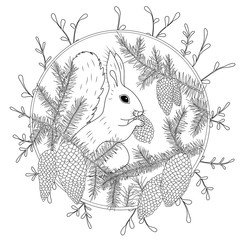 Coloring Page with high details isolated on white background. Vector monochrome sketch. Nature collection