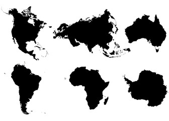 Continents North America, South America, Eurasia, Africa, Antarctica and Australia on a white background