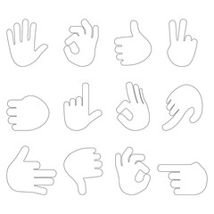 Set of hand gestures on white background