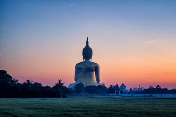 Buddha public   sunset in Thailand