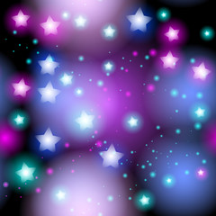 Abstract starry seamless pattern with neon star on bright pink and lilac, blue black background. Galaxy Night sky with stars. Vector