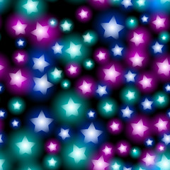 Abstract starry seamless pattern with neon star on black background. Galaxy Night sky with stars. Vector