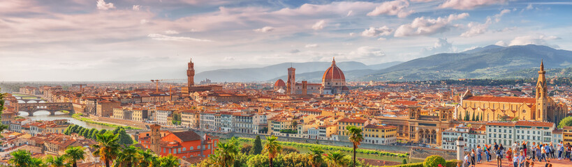 Poster de jardin Florence Beautiful landscape above, panorama on historical view of the Florence from Piazzale Michelangelo point .Italy.