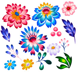 set of folk floral elements, flowers and leaves.