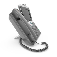 Modern office phone using VoIP technology on a white. 3D illustration
