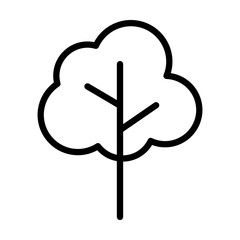 Simple cartoon tree / plant line art vector icon for nature apps and websites