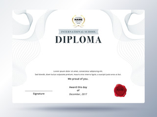 Diploma template design with simple concept. Education diploma design.