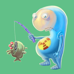 Сute alien has caught fish. Cartoon illustration.
