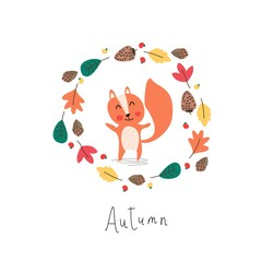 Cute illustration. Cartoon squirrel in the autumn wreath.
