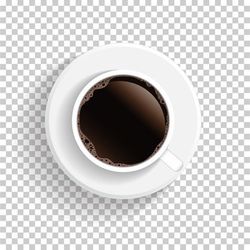 Realistic top view white coffee cup and saucer isolated on transparent background. Vector EPS10 illustration.