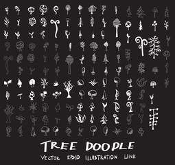 Set of tree doodles vector on chalkboard eps10