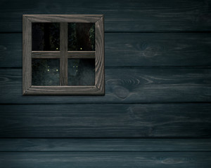 Wooden wall with forest and stars outside the window