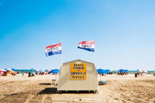 Beach chair rental kiosk on Wildwood Beach, New Jersey