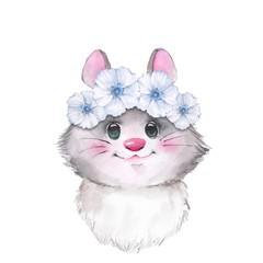 Mouse in wreath, cute watercolor illustration
