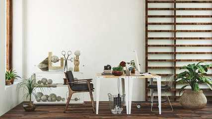 Tables and chairs in front of white wall