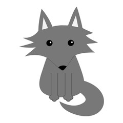 Gray wolf. Cute cartoon baby character icon. Forest animal collection. Flat design White background. Isolated.