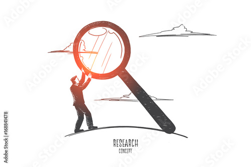 research concept hand drawn man holding magnifying glass male