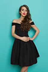 Beautiful And Fragile Young Woman In Black Cocktail Dress