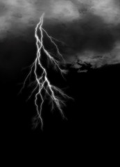 Lightning streaks on gloomy cloudy darkness