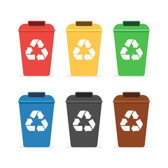 Trash containers for recycling