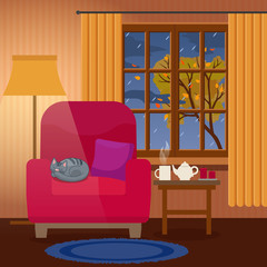Evening cozy interior of living room, rain outside the window, cat sleeping on armchair. Flat style, design template