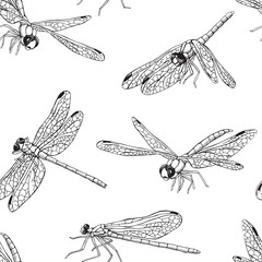 Seamless pattern with different dragonfly. Vector black and white illustration.