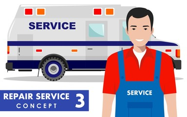 Repair service concept. Detailed illustration of service machine and master repairer on white background in flat style. Vector illustration.