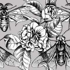 Seamless pattern with image of camellia flowers and bee, wasp on a gray background. Vector black and white illustration.