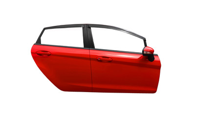 Red car door isolated on white background with clip path