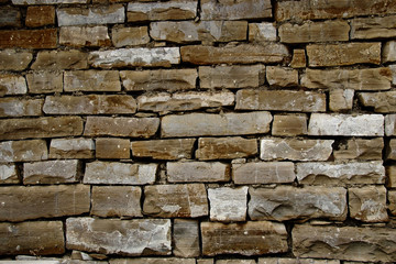 Vintage textured stone brick wall background texture for design banner Wallpaper