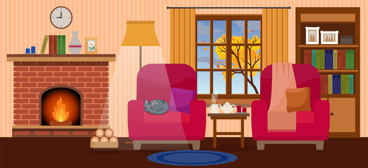 Cozy interior of living room with fireplace, two armchairs, autumn tree in the window, cup of tea and cat sleeping. Flat style, design template