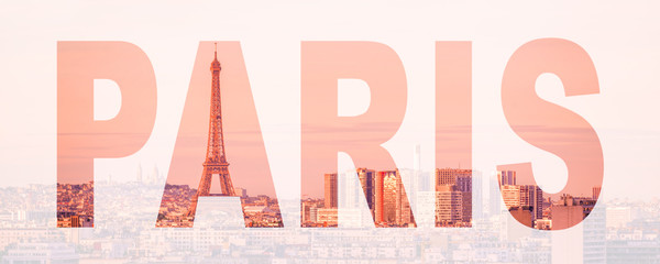 Wall Mural - Word Paris, France and Europe city travel concept