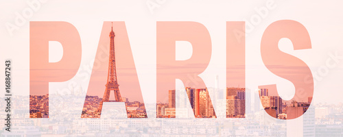 Wall mural Word Paris, France and Europe city travel concept