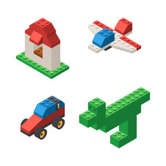Toys built from plastic blocks