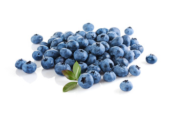Healthy food. Close up view fresh ripe blueberry with leaves