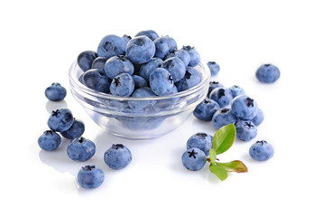 Healthy food. Close up view fresh ripe blueberry in glass bowl