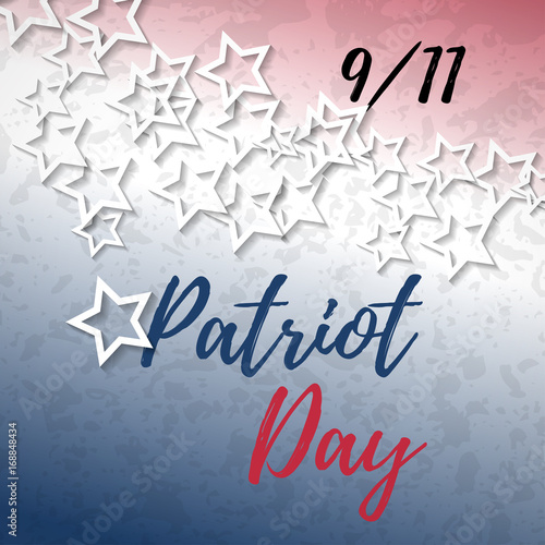 911 patriot day banner with typography lettering and abstract american flag background poster