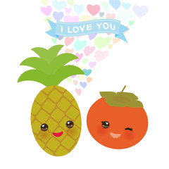 I love you Card design with Kawaii pineapple and persimmon with pink cheeks and winking eyes, pastel colors on white background. Vector