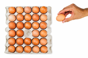Man's hand picking up one fresh egg from paper tray, healthy eating concept